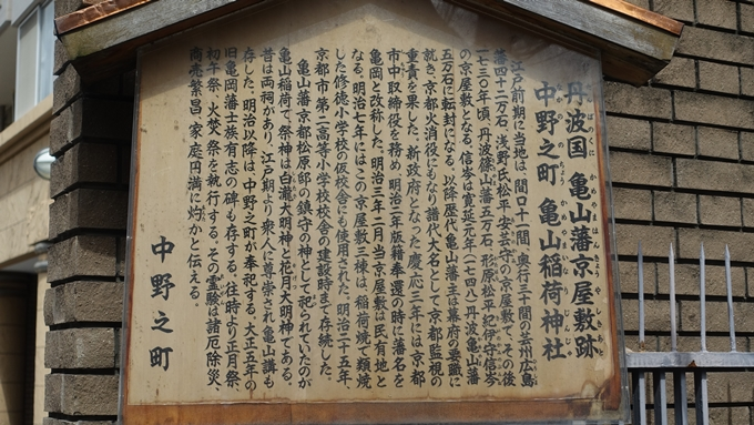 亀山稲荷 駒札