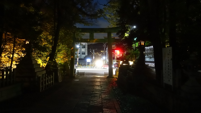 岡崎神社夜景 鳥居